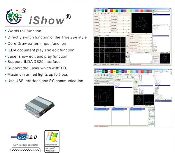 Phoenix pro laser show software with ilda pc controller laser light show designer controller software